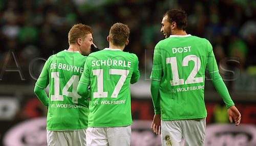 07.02.2015. Wolfsburg, Germany. Bundesliga football league match. VFL Wolfsburg versus TSG Hoffenheim at the  Volkswagen-Arena Wolfsburg. Goal celebrations from scorer Bas Dost (Wolfsburg) with new signing Schurrle to make it 2:0