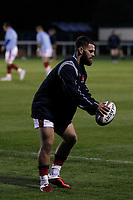 Ed Hoadley of London Scottish warms up during the Championship Cup match between London Scottish Football Club and Yorkshire Carnegie at Richmond Athletic Ground, Richmond, United Kingdom on 4 October 2019. Photo by Carlton Myrie / PRiME Media Images