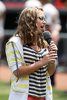 Erie Seawolves fan sings the national anthem during a game vs. the Trenton Thunder at Jerry Uht Park in Erie, Pennsylvania;  June 23, 2010.   Trenton defeated Erie 12-7  Photo By Mike Janes/Four Seam Images