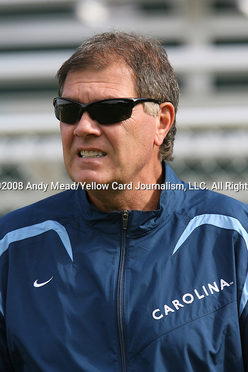 12 November 2008: UNC head coach Elmer Bolowich. The University of Maryland defeated the University of North Carolina 1-0 at Koka Booth Stadium at WakeMed Soccer Park in Cary, NC in a men's ACC tournament quarterfinal game.