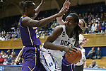 19 December 2013: Duke's Elizabeth Williams (right) and Albany's Shereesha Richards (left). The Duke University Blue Devils played the University at Albany, The State University of New York Great Danes at Cameron Indoor Stadium in Durham, North Carolina in a 2013-14 NCAA Division I Women's Basketball game. Duke won the game 80-51.