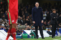 Swansea City manager Paul Clement shouts instructions during the Premier League match between Chelsea and Swansea City at Stamford Bridge, London, England, UK. Wednesday 29 November 2017