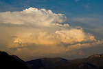 Cumulonimbus thunderstorm clouds at sunst above Desolation Wilderness, El Dorado National Forest, California
