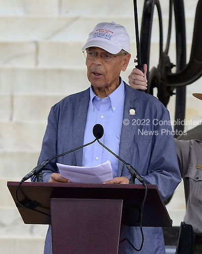 Julian Bond makes remarks at the Let Freedom Ring ceremony on the steps of the Lincoln Memorial to commemorate the 50th Anniversary of the March on Washington for Jobs and Freedom<br /> Credit: Ron Sachs / CNP