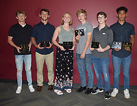 RICK PECK/SPECIAL TO MCDONALD COUNTY PRESS<br /> 2018-2019 Wrestling Awards - From left to right: Oscar Ortiz (Most Outstanding Wrestler, Most Takedowns, Most Wins and Scholar Athlete), Jack Teague (Most Pins), Shae White (Manager, Four-Year Commitment), Justin Smith (Coaches Award), Jordan Meador (Fastest Fall) and Junior Teriek (Outstanding JV Wrestler and Top Newcomer). Not present: Eh Doh Say (Most Improved).
