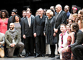 Camilla, the Duchess of Cornwall, wife of Britain's Prince Charles, poses for a photo with the actors on stage during a visit to the Shakespeare Theatre Company at Sidney Harman Hall in Washington, D.C. on Wednesday, March 18, 2015.  Richard Thomas, Anthony Warlow, Camilla, the Duchess of Cornwall, and Michael Kahn are identifiable at the center of the photo.<br /> Credit: Ron Sachs / CNP