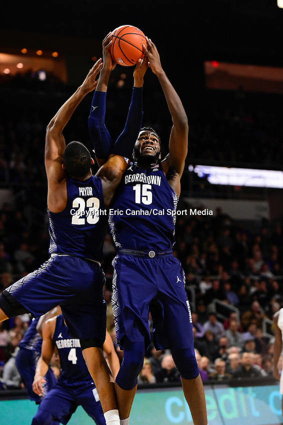 Wednesday, January 4, 2016: Georgetown Hoyas center Jessie Govan (15) comes down with a rebound during the NCAA basketball game between the Georgetown Hoyas and the Providence Friars held at the Dunkin Donuts Center, in Providence, Rhode Island. Providence defeats Georgetown 76-70 in regulation time. Eric Canha/CSM