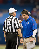 Florida head coach Will Muschamp argues with the referee about a bad call during 79th Sugar Bowl game against Louisville at Mercedes-Benz Superdome in New Orleans, Louisiana on January 2nd, 2013.   Louisville Cardinals defeated Florida Gators, 33-23.