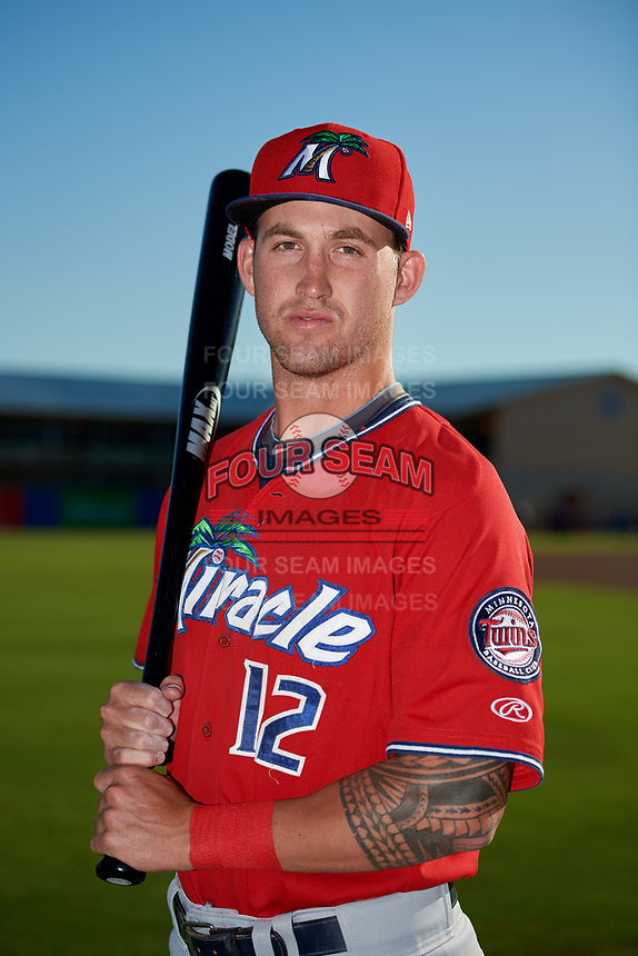 Fort Myers Miracle center fielder Aaron Whitefield (12) poses for a photo before a game against the Dunedin Blue Jays on April 17, 2018 at Dunedin Stadium in Dunedin, Florida.  Dunedin defeated Fort Myers 5-2.  (Mike Janes/Four Seam Images)