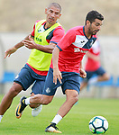 Getafe CF's Angel Rodriguez (r) and Cata Diaz during training session. August 1,2017.(ALTERPHOTOS/Acero)