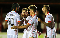Blackpool's Max Clayton celebrates scoring his side's second goal with teammate Nathan Delfouneso<br /> <br /> Photographer Alex Dodd/CameraSport<br /> <br /> EFL Checkatrade Trophy - Northern Section Group B - Accrington Stanley v Blackpool - Tuesday 3rd October 2017 - Crown Ground - Accrington<br />  <br /> World Copyright &copy; 2018 CameraSport. All rights reserved. 43 Linden Ave. Countesthorpe. Leicester. England. LE8 5PG - Tel: +44 (0) 116 277 4147 - admin@camerasport.com - www.camerasport.com