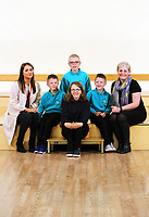 L-R Alfie, Erin McGeough from Amazon, Lewis, Alfie (TOP), Jessica (FRONT), Leon and deputy head teacher Lisa James Smith