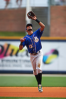Biloxi Shuckers second baseman Yadiel Rivera (13) catches a pop up during the first game of a double header against the Pensacola Blue Wahoos on April 26, 2015 at Pensacola Bayfront Stadium in Pensacola, Florida.  Biloxi defeated Pensacola 2-1.  (Mike Janes/Four Seam Images)
