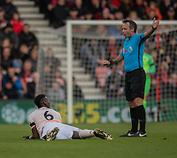 Manchester United's Paul Pogba protests to referee Paul Tierney that he was fouled<br /> <br /> Photographer David Horton/CameraSport<br /> <br /> The Premier League - Bournemouth v Manchester United - Saturday 3rd November 2018 - Vitality Stadium - Bournemouth<br /> <br /> World Copyright &copy; 2018 CameraSport. All rights reserved. 43 Linden Ave. Countesthorpe. Leicester. England. LE8 5PG - Tel: +44 (0) 116 277 4147 - admin@camerasport.com - www.camerasport.com