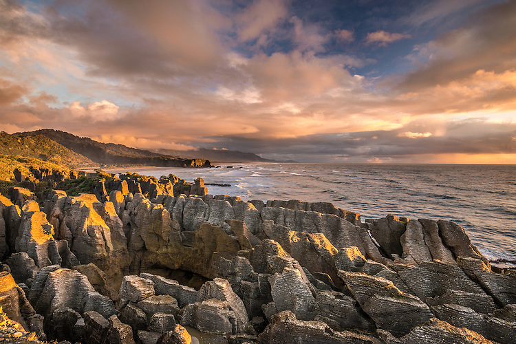 Punakaiki Rocks, Sunset, West Coast, South Island, New Zealand - stock photo, canvas, fine art print