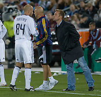Real Salt Lake coach Jason Kreis talks with Clint Mathis (84) during a break in play. Real Salt Lake earned a tied versus the Colorado Rapids securing a place in the postseason. Dick's Sporting Goods Park, Denver, Colorado, October, 25, 2008. Photo by Trent Davol/isiphotos.com