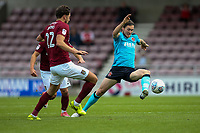Fleetwood Town's Aiden O'Neill competing with Northampton Town's Matt Crooks <br /> <br /> Photographer Andrew Kearns/CameraSport<br /> <br /> The EFL Sky Bet League One - Northampton Town v Fleetwood Town - Saturday August 12th 2017 - Sixfields Stadium - Northampton<br /> <br /> World Copyright &copy; 2017 CameraSport. All rights reserved. 43 Linden Ave. Countesthorpe. Leicester. England. LE8 5PG - Tel: +44 (0) 116 277 4147 - admin@camerasport.com - www.camerasport.com