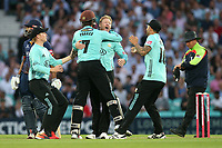 Gareth Batty of Surrey celebrates taking the wicket of Ravi Bopara during Surrey vs Essex Eagles, Vitality Blast T20 Cricket at the Kia Oval on 12th July 2018