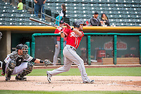 Shawn O'Malley (18) of the Tacoma Rainiers at bat against the Salt Lake Bees in Pacific Coast League action at Smith's Ballpark on May 7, 2015 in Salt Lake City, Utah. The Bees defeated the Rainiers 11-4 in the completion of the game that was suspended due to weather on May 6, 2015.(Stephen Smith/Four Seam Images)