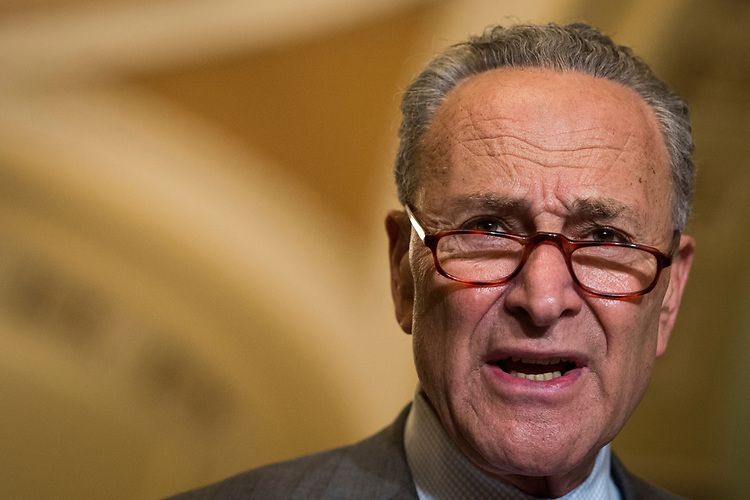 UNITED STATES – June 26: Senate Minority Leader Charles Schumer, D-N.Y., speaks to the press after the Senate Democrats' policy lunch in the Capitol on Tuesday, June 26, 2018.  (Photo By Sarah Silbiger/CQ Roll Call)