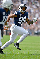 UNIVERSITY PARK, PA - AUGUST 31: Penn State DE Yetur Gross-Matos (99) runs to coverage during the Idaho Vandals versus the Penn State Nittany Lions August 31, 2019 at Beaver Stadium in University Park, PA. (Photo by Randy Litzinger/Icon Sportswire)