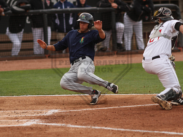 Cedar Rapids Kernels outfielder Zack Larson (24) during a game against the Wisconsin Timber Rattlers on May 4th, 2015 at Fox Cities Stadium in Appleton, Wisconsin.  Cedar Rapids defeated Wisconsin 9-3.  (Brad Krause/Krause Sports Photography)