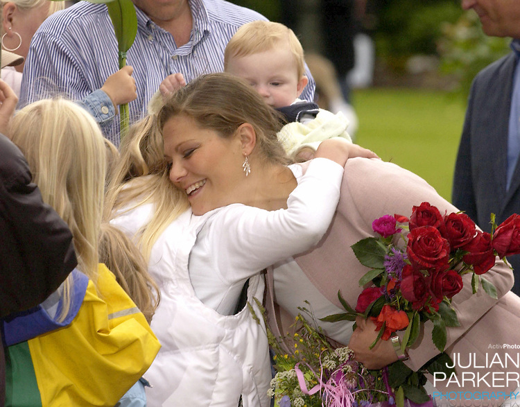 Crown Princess Victoria of Sweden celebrates her 27th birthday at Solliden, near Bergholm, accompanied by King Carl Gustav, Queen Silvia..