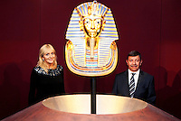 17/02/'11 RTEs Miriam O'Callaghan and His Excellency Mr. Amr Helmy, The Egyptyian Ambassador to Ireland pictured this afternoon after they officially opened the exhibition 'Tutankhamun: His Tomb and His Treasures' in the RDS Dublin. Tutankhamun: His Tomb and His Treasures has already delighted over 1.7 million visitors across Europe. Tickets can be bought on www.ticketmaster.ie...Picture Colin Keegan, Collins, Dublin.***NO REPRODUCTION FEE PICTURE****