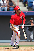 Washington Nationals Michael Morse #38 at bat during a spring training game against the Florida Marlins at Spacecoast Stadium on March 27, 2011 in Melbourne, Florida.  Photo By Mike Janes/Four Seam Images