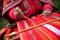Dolores, along with most women in Huilloc, weave using the ancient art of the back strap loom. They gather material for weaving from their llamas and alpacas and sell their esteemed weavings at the market. This community is known for its Textiles Revitalization School, where individuals learn how to preserve and strengthen traditional Quechua weaving and textiles.