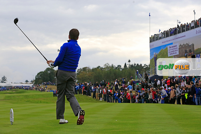 Graeme McDowell (EUR) tees off the 16th tee during Sunday's Singles Matches of the Ryder Cup 2014 played on the PGA Centenary Course at the Gleneagles Hotel, Auchterarder, Scotland.: Picture Eoin Clarke, www.golffile.ie: 28th September 2014