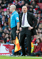 Burnley manager Sean Dyche  tries to get his point across to the assistant referee<br /> <br /> Photographer David Shipman/CameraSport<br /> <br /> The Premier League - Arsenal v Burnley - Saturday 22nd December 2018 - The Emirates - London<br /> <br /> World Copyright © 2018 CameraSport. All rights reserved. 43 Linden Ave. Countesthorpe. Leicester. England. LE8 5PG - Tel: +44 (0) 116 277 4147 - admin@camerasport.com - www.camerasport.com