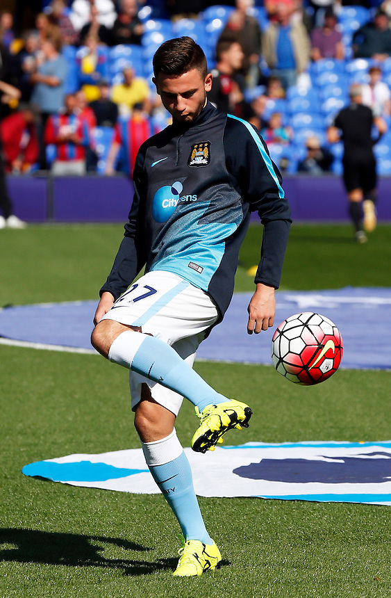 Manchester City's Patrick Roberts during the pre-match warm-up <br /> <br /> Photographer Kieran Galvin/CameraSport<br /> <br /> Football - Barclays Premiership - Crystal Palace v Manchester City - Saturday 12th October  2015 - Selhurst Park - London<br /> <br /> &copy; CameraSport - 43 Linden Ave. Countesthorpe. Leicester. England. LE8 5PG - Tel: +44 (0) 116 277 4147 - admin@camerasport.com - www.camerasport.com