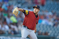 Toledo Mud Hens starting pitcher Matt Hall (22) in action against the Charlotte Knights at BB&T BallPark on April 23, 2019 in Charlotte, North Carolina. The Knights defeated the Mud Hens 11-9 in 10 innings. (Brian Westerholt/Four Seam Images)