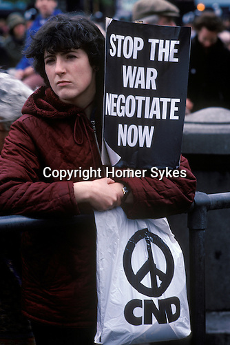 Stop Falklands War march and rally CND Campaign for Nuclear Disarmament Traflalgar Square London 1982.