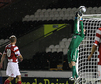 Kevin Cuthbert tips over in the St Mirren v Hamilton Academical Scottish Communities League Cup match played at St Mirren Park, Paisley on 25.9.12.