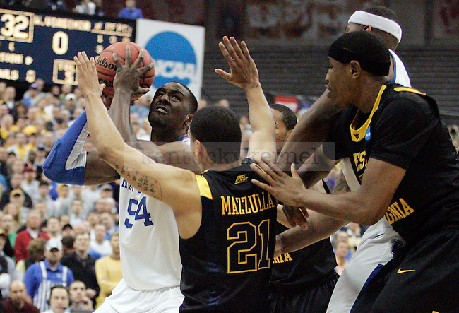 Junior forward Patrick Patterson fights his way to the net in the first half of UK's Elite 8 loss , 73-66, against West Virginia at the Carrier Dome in Syracuse, NY on  Saturday, March 27, 2010. Photo by Britney McIntosh | Staff