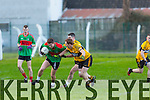 In Action  Emmets Noel Kennelly and Beale's Ger O'Gorman at  the Bernard O'Callaghan Memorial Senior Football Championship final last Saturday Beale V Listowel Emmets