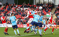 Fleetwood Town's Cian Bolger heads the opening goal<br /> <br /> Photographer Alex Dodd/CameraSport<br /> <br /> The EFL Sky Bet League One - Fleetwood Town v Accrington Stanley - Saturday 15th September 2018  - Highbury Stadium - Fleetwood<br /> <br /> World Copyright &copy; 2018 CameraSport. All rights reserved. 43 Linden Ave. Countesthorpe. Leicester. England. LE8 5PG - Tel: +44 (0) 116 277 4147 - admin@camerasport.com - www.camerasport.com