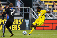 27 MAY 2009: #2 Eric Denton of the San Jose Earthquakes and #17 Emmanuel Ekpo, Columbus Crew mid fielder in action during the San Jose Earthquakes at Columbus Crew MLS game in Columbus, Ohio on May 27, 2009. The Columbus Crew defeated San Jose 2-1