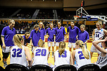 GRAND RAPIDS, MI - MARCH 18: Amherst College players huddle during a timeout at the Division III Women's Basketball Championship held at Van Noord Arena on March 18, 2017 in Grand Rapids, Michigan. Amherst defeated 52-29 for the national title. (Photo by Brady Kenniston/NCAA Photos via Getty Images)