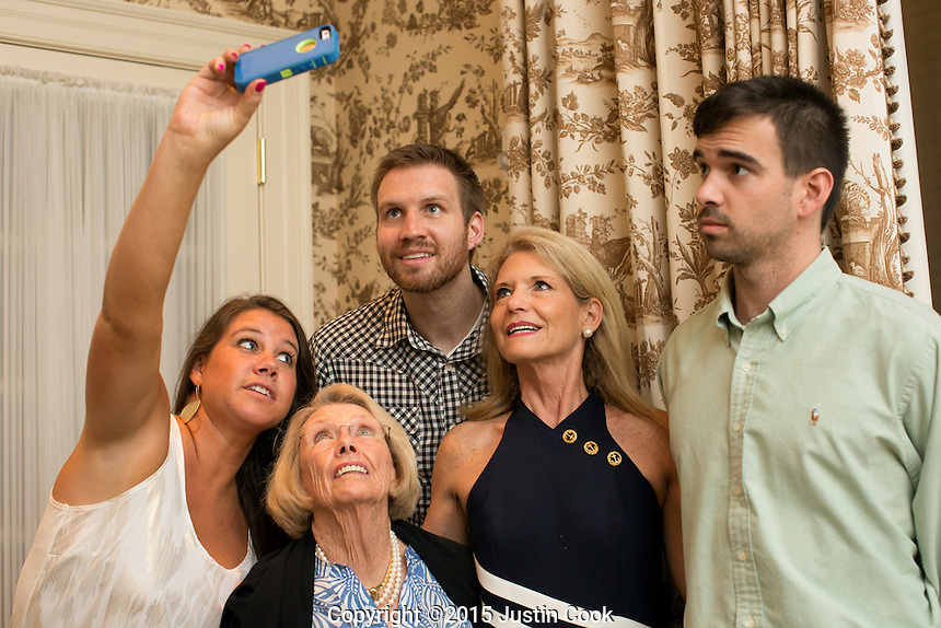 Shavlik's sister Senna talks a selfie with Shavlik, her grandmother Gigi her mother Kim and brother Dexter during Gigi's 79th birthday at the Carolina Country Club in Raleigh, N.C. on Friday, July 3, 2015. (Justin Cook)