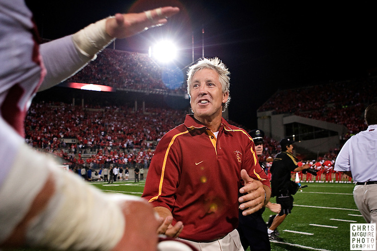 12 September 2009:  Football -- USC head coach Pete Carroll celebrates with players following their 18-15 victory over Ohio State at Ohio Stadium in Columbus.  Photo by Christopher McGuire.