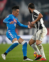 Calcio, Serie A: Juventus Stadium. Torino, Juventus Stadium, 29 ottobre 2016.<br /> Juventus&rsquo; Gonzalo Higuain, right, is challenged by Napoli&rsquo;s Jose' Maria Callejon during the Italian Serie A football match between Juventus and Napoli at Turin's Juventus Stadium, 29 October 2016. Juventus won 2-1.<br /> UPDATE IMAGES PRESS/Isabella Bonotto