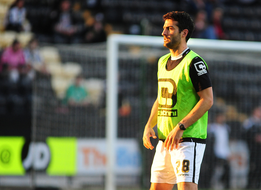 Notts County's Mike Edwards during the pre-match warm-up <br /> <br /> Photographer Andrew Vaughan/CameraSport<br /> <br /> Football - The Football League Sky Bet League One - Notts County v Preston North End - Tuesday 21st April 2015 - Meadow Lane - Nottingham<br /> <br /> &copy; CameraSport - 43 Linden Ave. Countesthorpe. Leicester. England. LE8 5PG - Tel: +44 (0) 116 277 4147 - admin@camerasport.com - www.camerasport.com