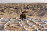 Chinese afforestation worker Ma Junhe checks out a new type of organic material from Taiwan which has potential to replace straw for sand movement control in the desert areas of Minqin county in Gansu province, October 2016. Minqin county is located in between the Tengger Desert and the Badain Jaran Desert.