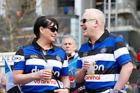 Bath Rugby fans arrive at the stadium. The Clash, Aviva Premiership match, between Bath Rugby and Leicester Tigers on April 7, 2018 at Twickenham Stadium in London, England. Photo by: Matt Impey / Wired Photos for Onside Images