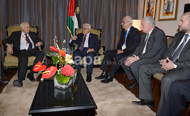 Palestinian President Mahmoud Abbas (Abu Mazen) meets with the secretary general of the Arab league, Nabil Elaraby in Cairo, on Feb. 05, 2013. Photo by Thaer Ganaim