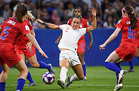 20190702 - LYON , FRANCE : American defenders  pictured defending on English Lucy Bronze during the female soccer game between England  - the Lionesses - and The United States of America  – USA - , a knock out game in the semi finals of the FIFA Women's  World Championship in France 2019, Tuesday 2 nd July 2019 at the Stade de Lyon  Stadium in Lyon  , France .  PHOTO SPORTPIX.BE | DAVID CATRY