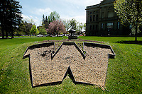 A giant W in the lawn outside the State Capital of Wyoming in Cheyenne, Wyoming, Thursday, June 2, 2011.  ..Photo by Matt Nager